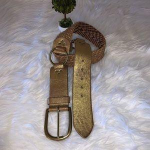 "Linea Pelle Gold Woven Leather Belt 34"""